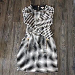 Michael Kors Houndstooth dress with gold zippers